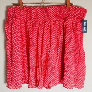Old Navy Skirt Deep Coral White Flowers Skirt XL